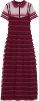 RED Valentino Lace-trimmed Point D'esprit Tulle Dress - Burgundy