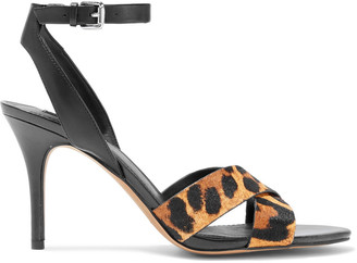 DKNY Ivy Leopard-print Calf Hair And Leather Sandals