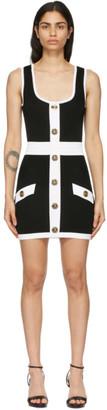Balmain Black and White Knit Short Dress