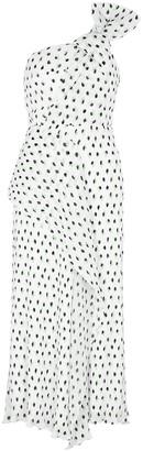 Roland Mouret Giza white polka-dot plisse midi dress
