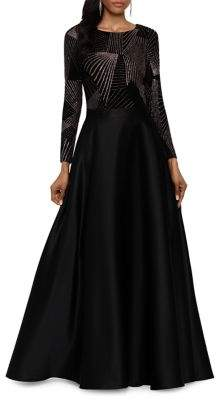 Betsy & Adam Abstract Glitter Fit-&-Flare Gown
