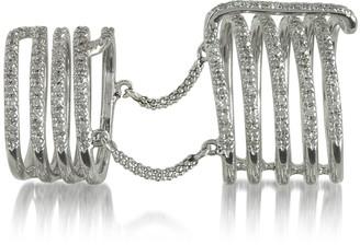 Bernard Delettrez Seven Bands White Gold Articulated Ring w/Diamonds Pave