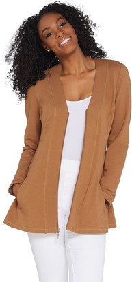 Denim & Co. Active French Terry Zip Front Long Sleeve Fit & Flare Jacket