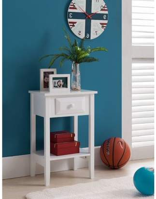 Pilaster Designs Daren Accent Side Table Nightstand With Storage Drawer & Open Shelf, White Wood, Contemporary