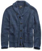 Todd Snyder Linen Shawl Cardigan in Navy