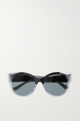 Prada Cat-eye Acetate And Silver-tone Sunglasses - Gray