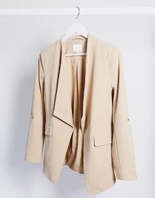 Vila soft collar blazer in tan