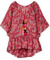 Anjuna - Darya Ruffled Printed Cotton-gauze Kaftan - Red