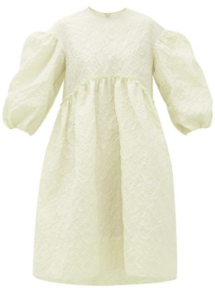 Simone Rocha Puff-sleeve Cloque Midi Dress - Womens - Green