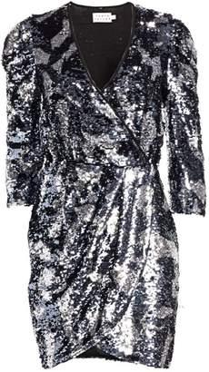 Tanya Taylor Zoey Sequin Camo Wrap Dress