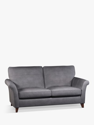 John Lewis & Partners Charlotte High Back Large 3 Seater Leather Sofa, Dark Leg