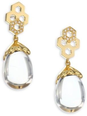 Temple St. Clair 18K Gold & Diamond Pave Beehive Amulet Earrings
