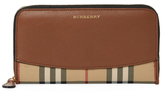 Burberry Horseferry Check & Leather Zip Around Wallet
