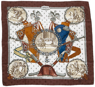 One Kings Lane Vintage Hermes Brown Collectible Napoleon Scarf - Vintage Lux