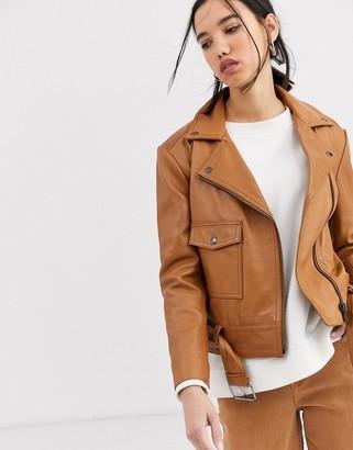 Muu Baa Muubaa boxy belted leather jacket in tonal colour-Brown