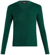 Rochas Logo-embroidered V-neck wool sweater