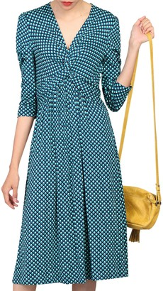 Jolie Moi Printed Knot Front Dress, Blue Pattern