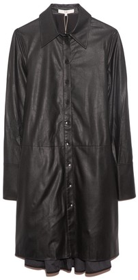 Tibi Tissue Faux Leather Shirt Dress in Black