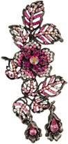 Krustallos Swarovski Crystal Floral Filigree Design Brooch with Crystalized Petals