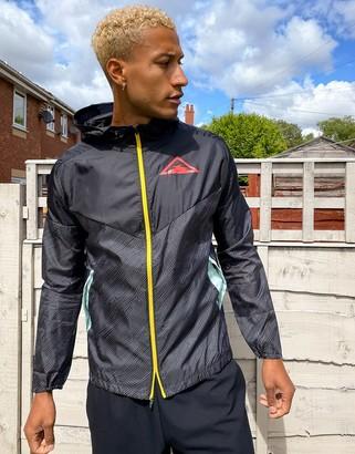 Nike Running Trail zip thru logo jacket in black