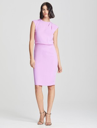 Halston Drape Neck Crepe Dress