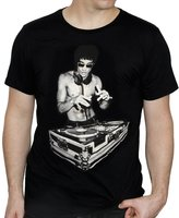 Bow & Arrow Mens Bruce Lee Dj Scratch T-Shirts Black Medium, Cream Soda
