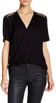 Hip Lace Detail Surplice Shirt