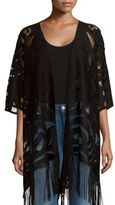 Cejon Open-Front Fringed Cape