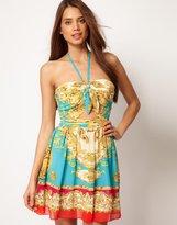 Lipsy Scarf Print Dress With Cutout