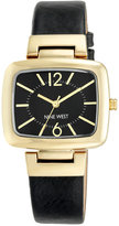 Nine West Women's Black Leather Strap Watch 37x36mm NW-1840BKBK