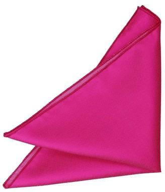 DQT Men Plain Solid Check Fuchsia Pink Pocket Square