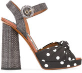 Dolce & Gabbana polka dot sandals - women - Cotton/Raffia/Leather/Polyester - 40
