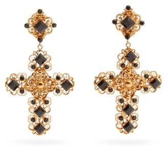 Dolce & Gabbana Beaded Crystal-embellished Cross-pendant Earrings - Gold