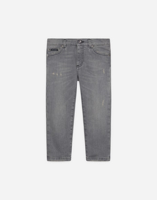 Dolce & Gabbana Lead Gray Regular-Fit Stretch Jeans With Abrasions