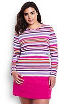 Classic Women's Plus Size Long Sleeve Swim Tee Rash Guard-Light Fuchsia Maui Stripe