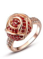 Winter.Z Noble and Elegant Ladies Jewelry Popular Explosion Models Austria Crystal Rose Gold Red Diamond Rose Ring Wedding