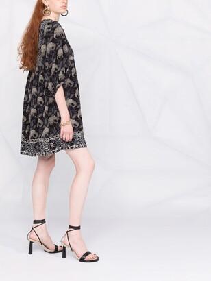 BA&SH Floral-Print Tie-Front Dress