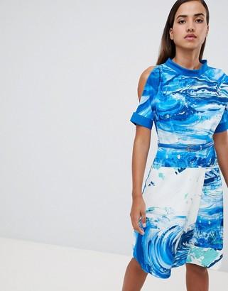 Closet London a line printed dress