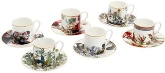 Roberto Cavalli Set Of 6 Flowers Coffee Cups & Saucers