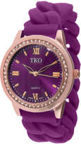 JCPenney TKO ORLOGI Womens Crystal-Accent Chain-Link Purple Strap Silicone Stretch Watch
