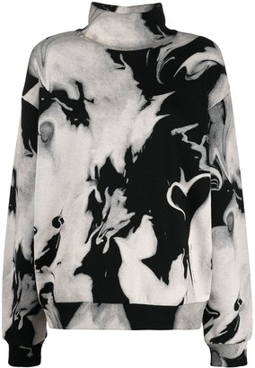 Alexander Wang Heart Print Mock Neck Sweatshirt