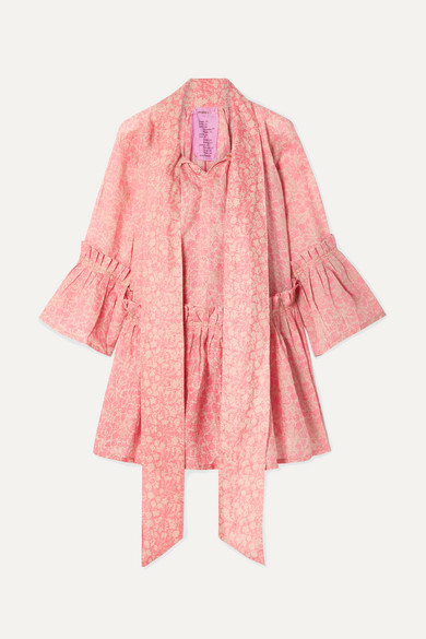 Yvonne S Angelica Ruffled Floral-print Linen Tunic - Bubblegum