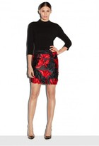 Milly Exclusive Couture Floral Fil Coupe Modern Mini Skirt