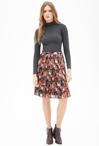 FOREVER 21 Contemporary Knife-Pleated Floral Skirt