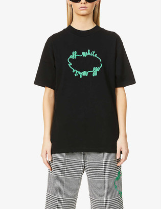 Off-White Logo-embroidered cotton-jersey T-shirt