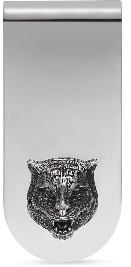 Gucci Money clip with feline head in silver