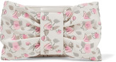RED Valentino Bow-embellished embroidered faux leather clutch