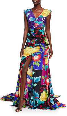 Etro Floral Patchwork Stretch Silk Gown