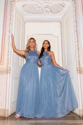 Quiz Blue Embellished High Neck Maxi Dress