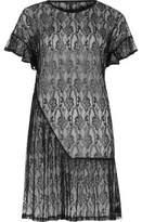 River Island Womens Black lace frill smock dress